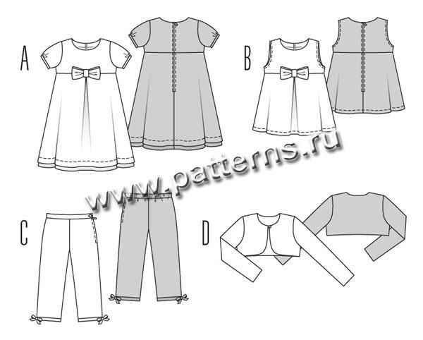 Выкройка Burda (Бурда) 9461 - Комплект: платье, туника, штанишки, болеро