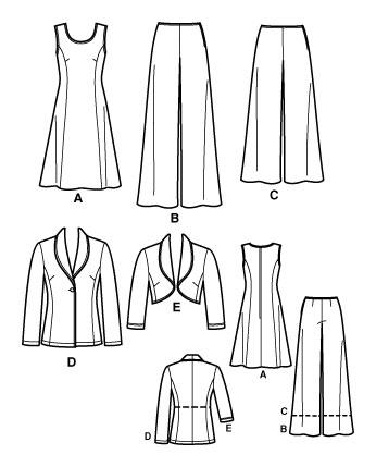 Выкройка Simplicity - Платье, Джемпер, Болеро, Брюки - S3565