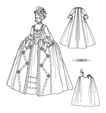 Выкройка платья 17 век