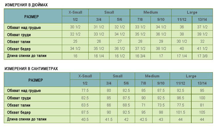 Таблица размеров для подростков