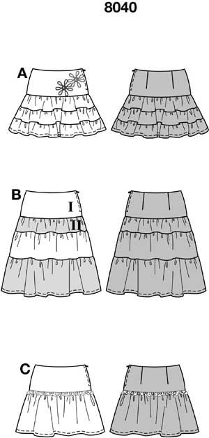 Выкройку юбки с тремя воланами 75